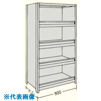 ■NF 前当り付軽量物品棚W900D300H1200F5  〔品番:LA43K-45〕[TR-1361871]【個人宅配送不可】