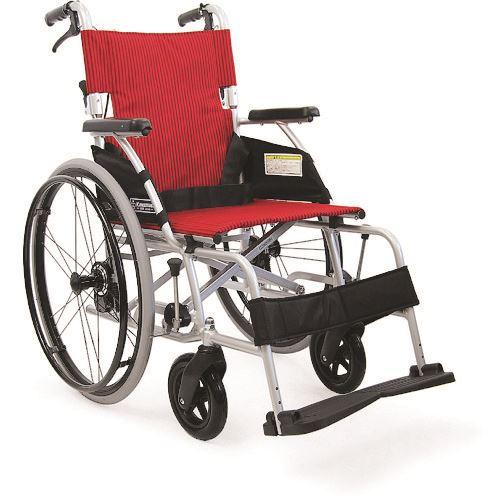 ■カワムラ 軽量自走用車いすBML赤ストライプ〔品番:BML22-40SBNO93〕[TR-1365159 ]【送料別途お見積り】