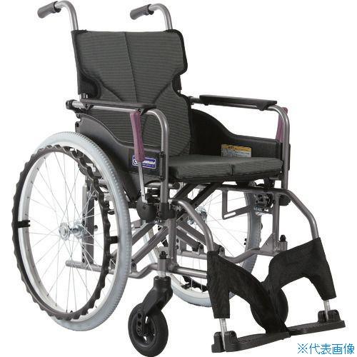 ■カワムラ アルミ製標準型自走用車いすKMD-A22-42S-Mチャコールグレー〔品番:KMDA2242SMNO82〕[TR-1373426 ]【送料別途お見積り】