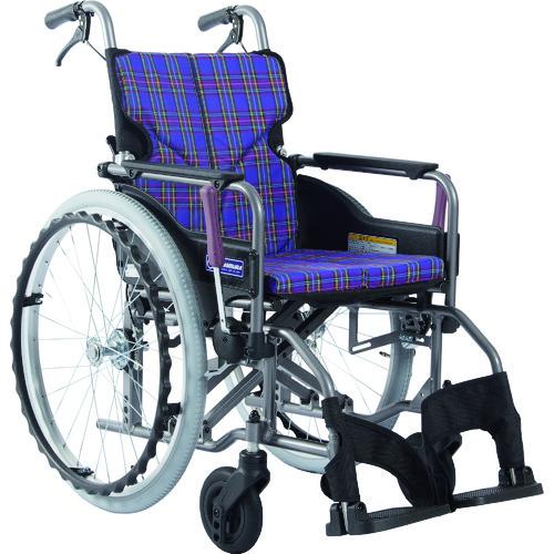 ■カワムラ アルミ製標準型自走用車いすKMD-A22-40-M紫チェック〔品番:KMDA2240MA11〕[TR-1373427 ]【送料別途お見積り】
