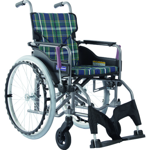 ■カワムラ アルミ製標準型自走用車いすKMD-A22-40S-M緑チェック〔品番:KMDA2240SMA9〕[TR-1373431 ]【送料別途お見積り】