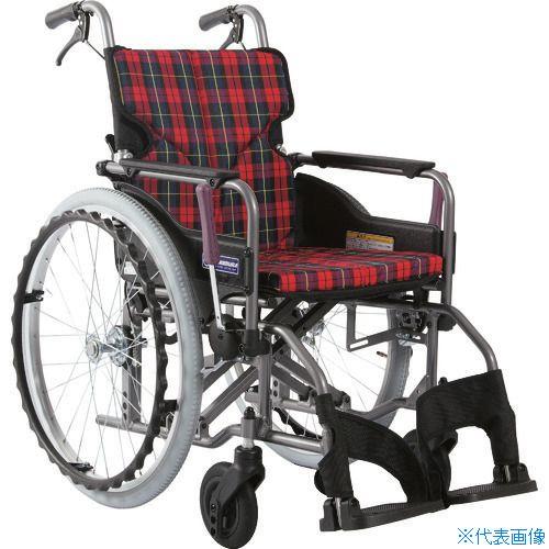 ■カワムラ アルミ製標準型自走用車いすKMD-A22-42-M赤チェック〔品番:KMDA2242MA10〕[TR-1373432 ]【送料別途お見積り】