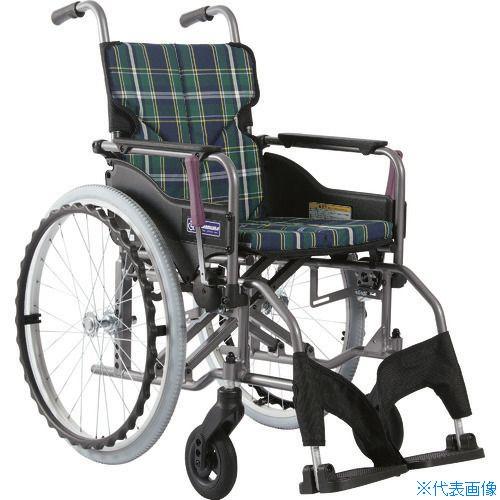 ■カワムラ アルミ製標準型自走用車いすKMD-A22-42S-M緑チェック〔品番:KMDA2242SMA9〕[TR-1373434 ]【送料別途お見積り】
