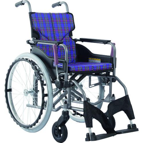 ■カワムラ アルミ製標準型自走用車いすKMD-A22-40S-M紫チェック〔品番:KMDA2240SMA11〕[TR-1373437 ]【送料別途お見積り】
