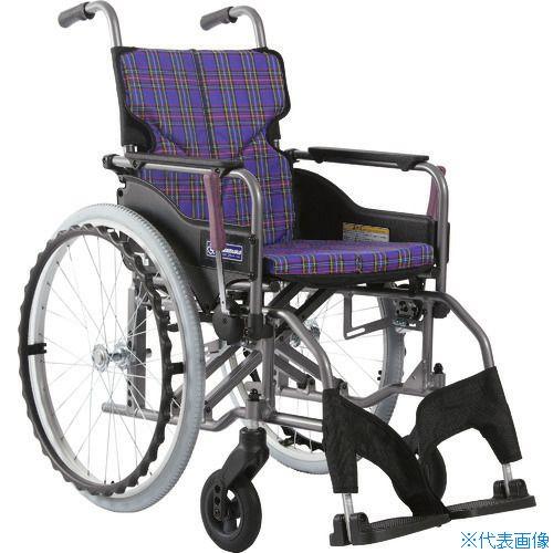 ■カワムラ アルミ製標準型自走用車いすKMD-A22-42S-M紫チェック〔品番:KMDA2242SMA11〕[TR-1373448 ]【送料別途お見積り】