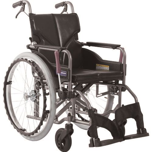 ■カワムラ アルミ製標準型自走用車いすKMD-A22-40-Mエコブラック〔品番:KMDA2240MNO88〕[TR-1373449 ]【送料別途お見積り】