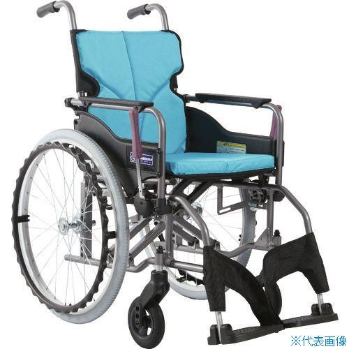 ■カワムラ アルミ製標準型自走用車いすKMD-A22-42S-Mライトブルー〔品番:KMDA2242SMNO83〕[TR-1373452 ]【送料別途お見積り】