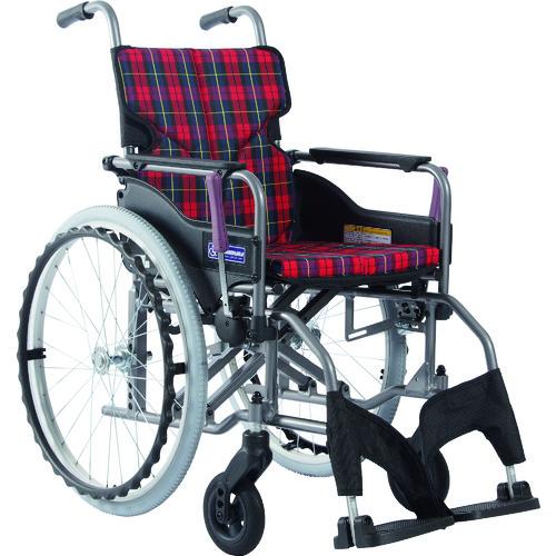 ■カワムラ アルミ製標準型自走用車いすKMD-A22-40S-M赤チェック〔品番:KMDA2240SMA10〕[TR-1373455 ]【送料別途お見積り】