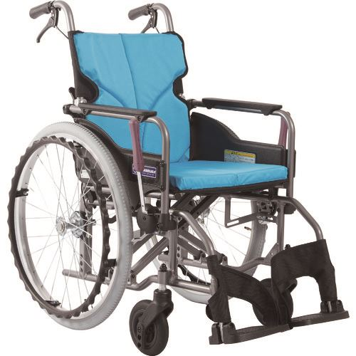 ■カワムラ アルミ製標準型自走用車いすKMD-A22-40-Mライトブルー〔品番:KMDA2240MNO83〕[TR-1373460 ]【送料別途お見積り】