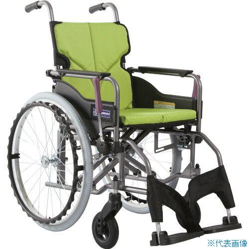 ■カワムラ アルミ製標準型自走用車いすKMD-A22-42S-M若草色〔品番:KMDA2242SMNO85〕[TR-1373461 ]【送料別途お見積り】