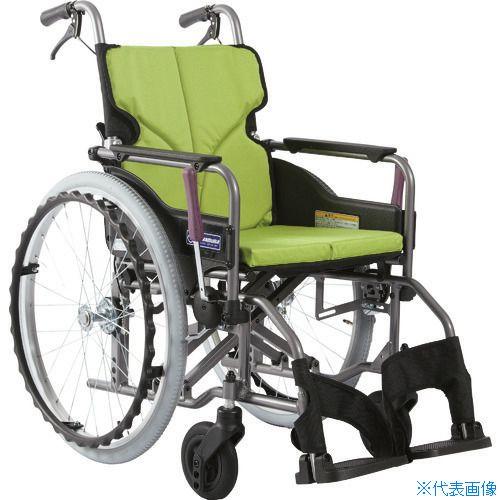 ■カワムラ アルミ製標準型自走用車いすKMD-A22-42-M若草色〔品番:KMDA2242MNO85〕[TR-1373465 ]【送料別途お見積り】