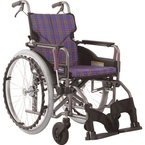 ■カワムラ アルミ製標準型自走用車いすKMD-A22-42-M紫チェック〔品番:KMDA2242MA11〕[TR-1373476 ]【送料別途お見積り】