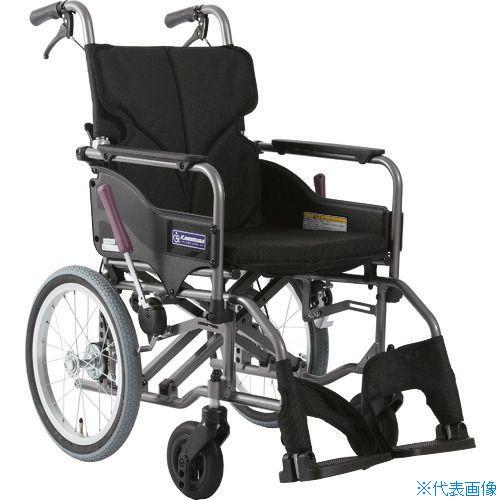 ■カワムラ アルミ製標準型介助用車いすKMD-A16-40-M黒〔品番:KMDA1642MNO19〕[TR-1373478 ]【送料別途お見積り】