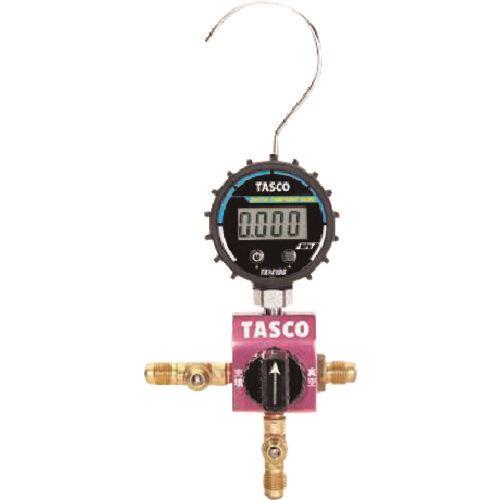■タスコ R410A R32用ボールバルブ式デジタルシングルゲージマニホールド〔品番:TA123DVG-1〕[TR-1451055]