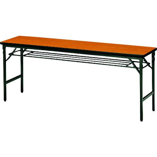 ■TOKIO 折りたたみテーブル 棚付 1800×450mm チーク〔品番:ATS-1845〕[TR-1462975 ]【送料別途お見積り】