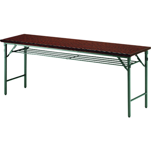 ■TOKIO 折りたたみテーブル 棚付 1500×750mm ローズ〔品番:TW-1575T〕[TR-1463005 ]【送料別途お見積り】