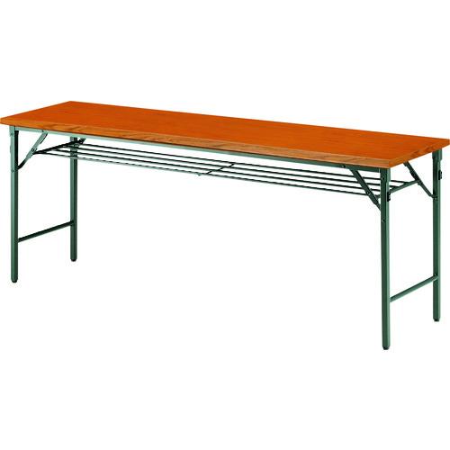 ■TOKIO 折りたたみテーブル 棚付 1800×750mm チーク〔品番:TW-1875T〕[TR-1467717 ]【送料別途お見積り】