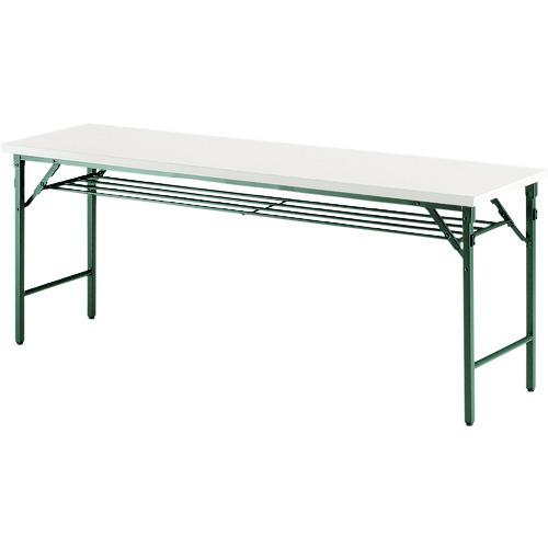 ■TOKIO 折りたたみテーブル 棚付 1800×600mm アイボリー〔品番:TWS-1860T〕[TR-1475622 ]【送料別途お見積り】