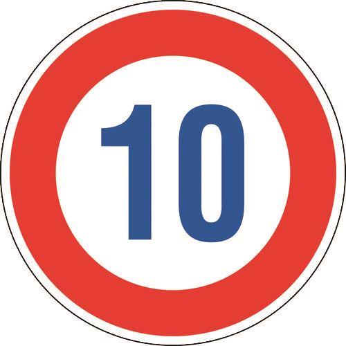 ■緑十字 道路標識(構内用) 制限速度10キロ 600MMΦ 反射タイプ アルミ製  〔品番:133671〕[TR-1481347]