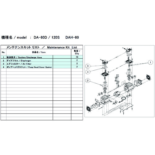 ■ULVAC DA-60D/120S用メンテナンスキット〔品番:DA-60D/120S〕[TR-1486866]