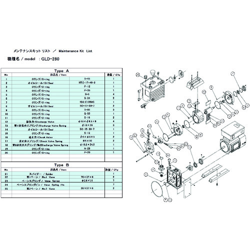 ■ULVAC GLD-280/280A/280B用メンテナンスキットB  〔品番:GLD-280A〕[TR-1487170]