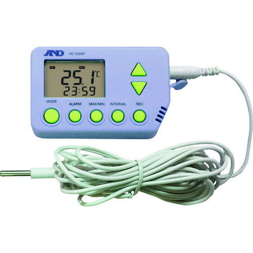 ■A&D 温度データロガー(外部温度センサー付き) AD5326TT 一般(ISO)校正付(検査成績書+トレサビリティ体系図)  〔品番:AD5326TT-00A00〕受注生産品直送[TR-1492930]
