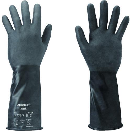 ■アンセル 耐薬品手袋 アルファテック 38-514 Mサイズ  〔品番:38-514-8〕[TR-1497699]