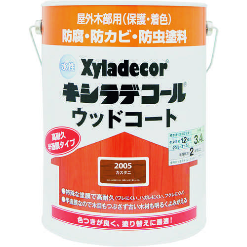 ■KANSAI 水性XDウッドコートS カスタニ 3.4L《4缶入》〔品番:00097670110000〕[TR-1528784]