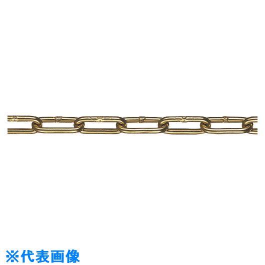 ■水本 アルミカラーチェーン ゴールド AL-3.5G 長さ・リンク数指定カット 14.1~15M  〔品番:AL-3.5-15C-G〕[TR-1598663]