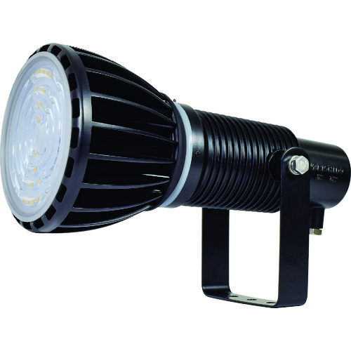 ■日動 エコビックLED投光器100W 常設用 スポット アース付 電線2M 本体黒、電球黒〔品番:ATL-E100J-SBK-50K〕[TR-1620510]