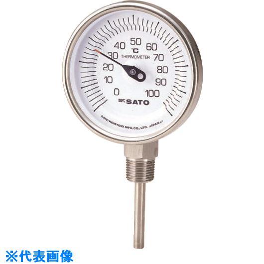■佐藤 バイメタル式温度計BM-S-90S 0~150℃200L(2030-66)  〔品番:BM-S-90S-12〕[TR-1662753]