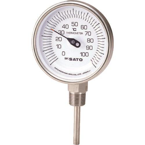 ■佐藤 バイメタル式温度計BM-S-90S 0~100℃200L(2030-46)  〔品番:BM-S-90S-10〕[TR-1662765]
