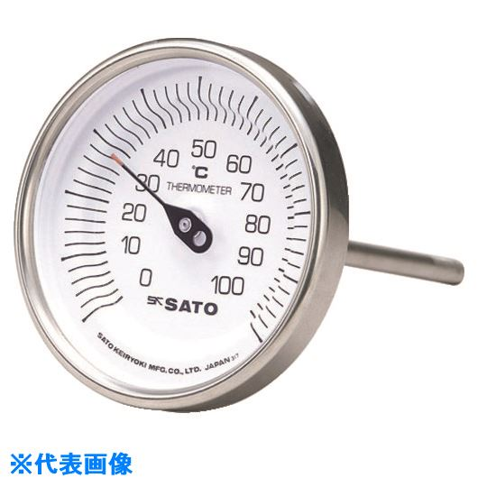 ■佐藤 バイメタル式温度計BM-T-90S -30~50℃60L(2010-10)〔品番:BM-T-90S-9〕[TR-1662770]