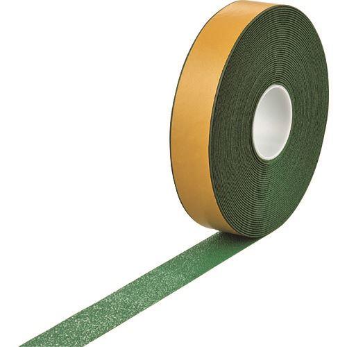 ■緑十字 高耐久ラインテープ(反射+滑り止めタイプ) 緑 50MM幅×20M 両端テーパー構造 屋内外兼用  〔品番:105222〕[TR-1667405]