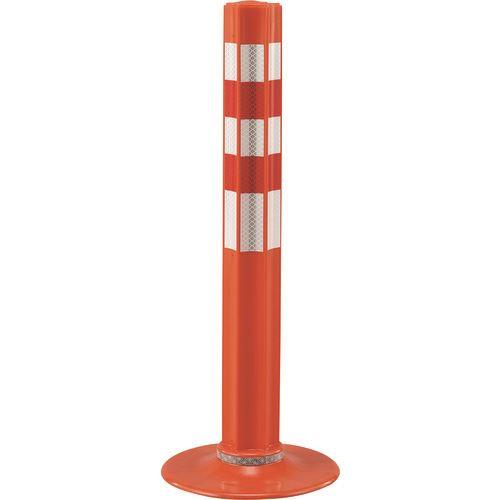■緑十字 ウェーブポスト(車線分離標) オレンジ 高さ650×台座250mmΦ 超高輝度プリズム型反射タイプ 特殊ウレタン製〔品番:373043〕[TR-1668930]【個人宅配送不可】