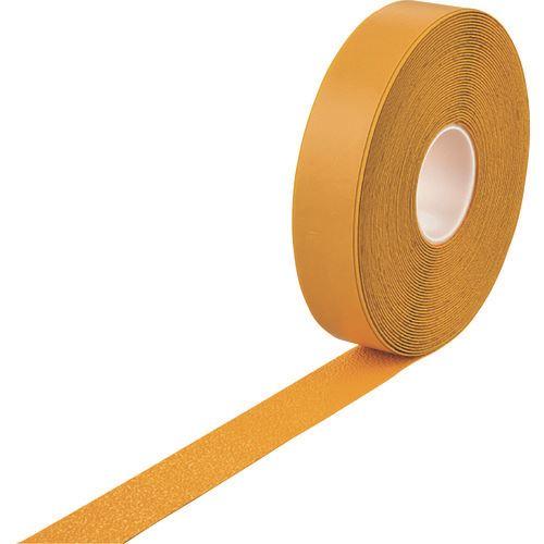 ■緑十字 高耐久ラインテープ(反射+滑り止めタイプ) 黄 50MM幅×20M 両端テーパー構造 屋内外兼用  〔品番:105223〕[TR-1670491]