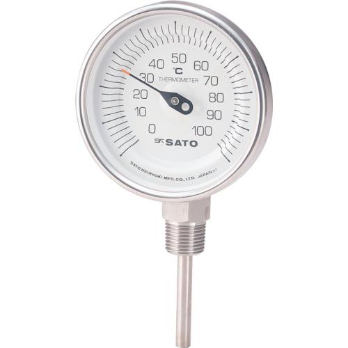 ■佐藤 バイメタル温度計BMーS型〔品番:BM-S-90S-4〕[TR-1689215]