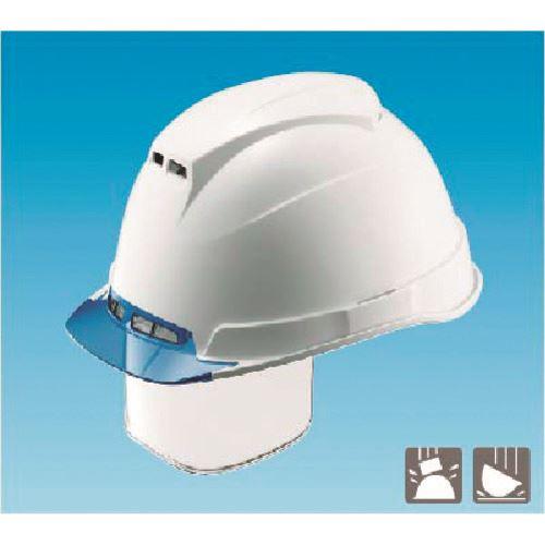 ■つくし 通気性保護帽(2層構造)透明前ひさし型シールド面付 白  〔品番:3115〕外直送[TR-1849568]