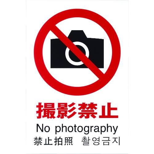 ■光 多国語ピクトサイン 撮影禁止 5枚入 〔品番:TGP2032-2〕[TR-1950172×5]