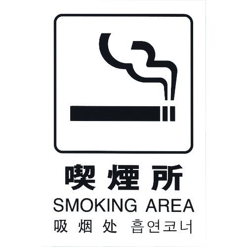 ■光 多国語ピクトサイン 喫煙所 5枚入 〔品番:TGP2032-7〕[TR-1950177×5]