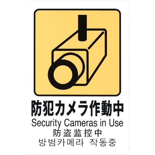 ■光 多国語ピクトサイン 防犯カメラ作動中 5枚入 〔品番:TGP2032-8〕[TR-1950178×5]