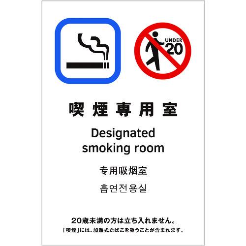 ■光 多国語ピクトサイン 喫煙専用室 5枚入 〔品番:TGP2032-10〕掲外取寄[TR-1950180×5]