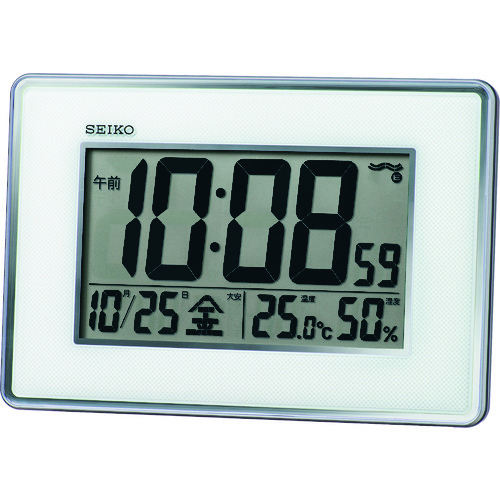 ?SEIKO 高精度温度湿度表示付き電波時計〔品番:SQ443S〕[TR-1993083][送料別途見積り][法人・事業所限定][掲外取寄]