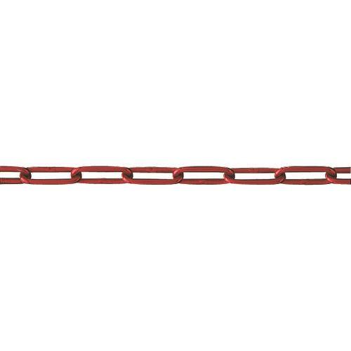 ■水本 アルミカラーチェーン レッド 30M 線径3.5MM  〔品番:AL-3.5R〕[TR-2028025]