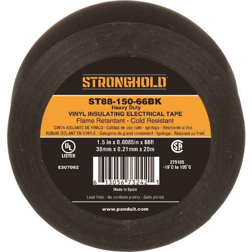 ■パンドウイット STRONGHOLDビニールテープ 耐熱・耐寒・難燃 ヘビーデューティーグレード 黒 幅38MM 長さ20M ST88-150-66BK 20個入 〔品番:ST88-150-66BK〕[TR-2044958×20]