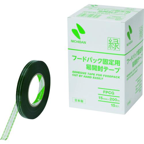 ■ニチバン フードパック固定用易開封テープ緑FPCG-15X200 15MMX200M 15巻入 〔品番:FPCG-15X200〕[TR-2051301×15]