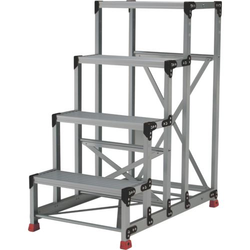 ■TRUSCO 作業用踏台 アルミ製・高強度タイプ 4段  〔品番:TSF-4612〕[TR-2621673]【大型・重量物・個人宅配送不可】