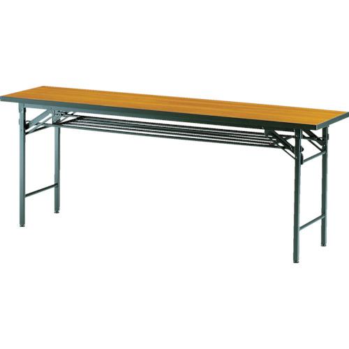 ■TRUSCO 折りたたみ会議テーブル 1800X450XH700 チーク T 〔品番:TCT-1845〕[TR-2769212]【大型・重量物・個人宅配送不可】