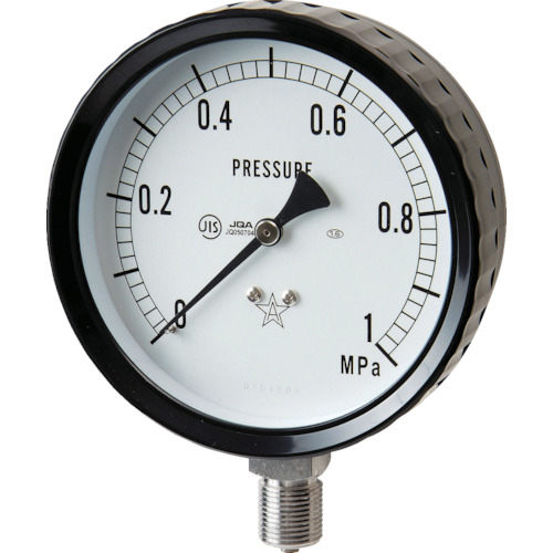 ■右下 ステンレス圧力計(A枠立型・Φ100) 圧力レンジ0~0.25MPA  〔品番:G411-261-0.25MP〕[TR-3328155]