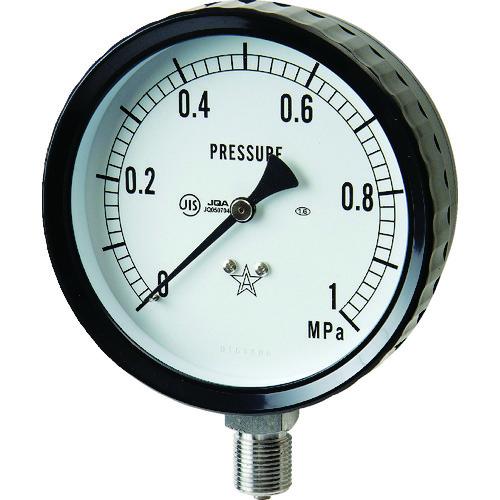 ■右下 ステンレス圧力計(A枠立型・Φ100) 圧力レンジ0~1.00MPA  〔品番:G411-261-1MP〕[TR-3328201]